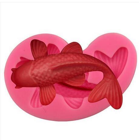 2019 Hot Sales!!! Wholesales Free shipping Silicone Fondant Cake Molds 3D Fish Carp Baking Tools Goldfish
