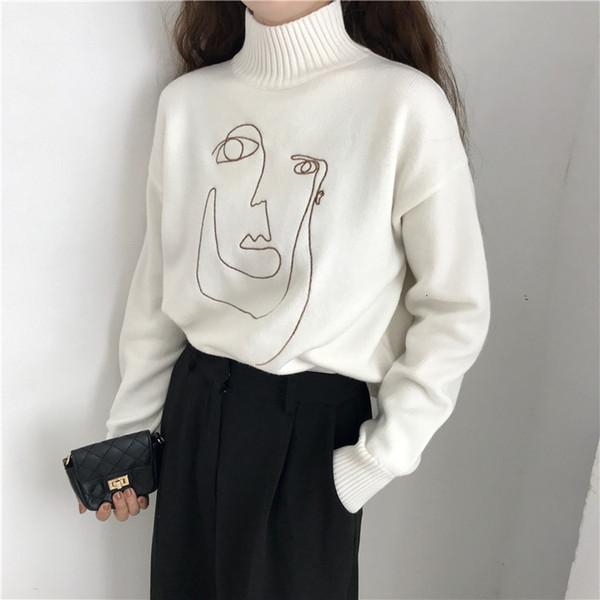 Geometrische Gesicht Winter-Pullover mit Stehkragen Frauen Pullover Langarm-lose Frau Strick Pullover Pullover dünne Dame SweaterMX190928