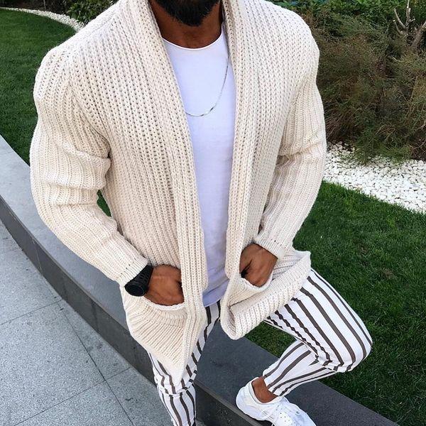 Roupas de inverno agasalho quente uns bolsos do revestimento Casual Men Sweatercoat Tricot Cardigan Outono camisola de malha Casaco Masculino Hombre SH190930