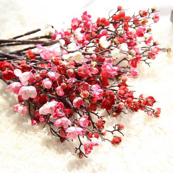 Cherry Artificial flower Fake Sakura Tree Branches 60cm Silk Cherry Flower Tree Home Table Living Room Decor DIY Wedding Decoration