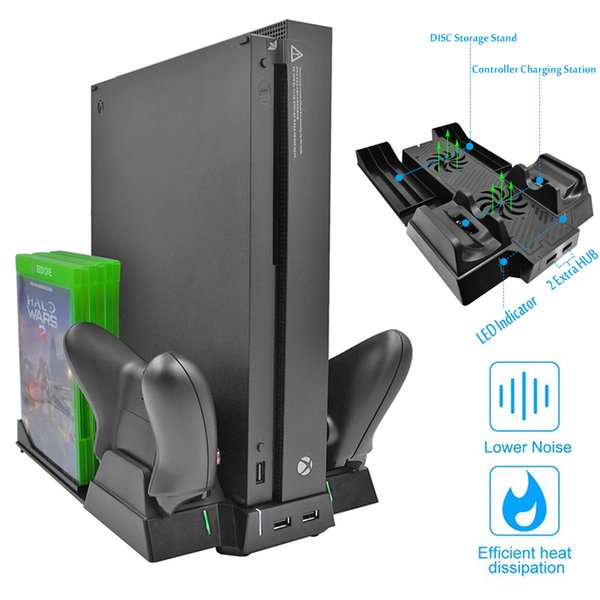 Yoteen Vertical Stand for Xbox One X Cooling fans Controller Charger with 2 USB HUB Ports & Discs Storage Rack