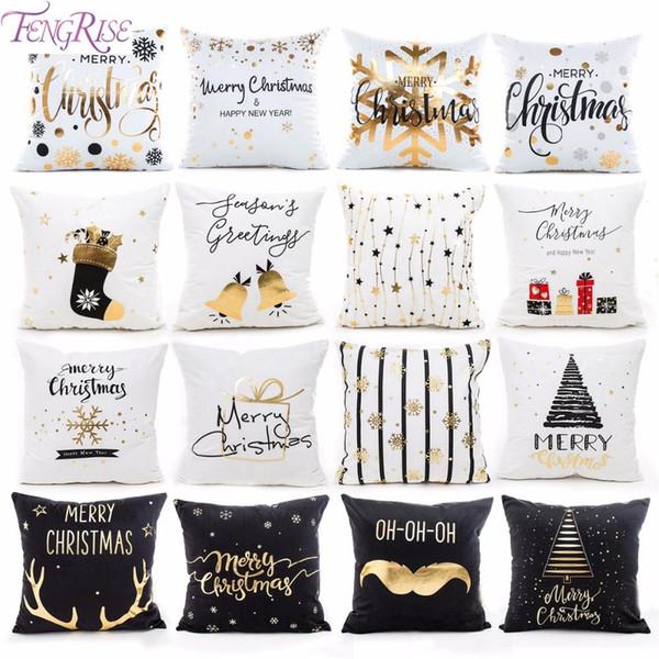 top popular 45x45cm Cotton Linen Merry Christmas Cover Cushion Christmas Decor for Home Happy New Year Decor Navidad Xmas Gift 2019