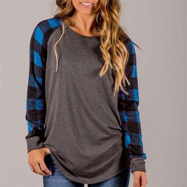 Оптовая осень футболки для женщин с принтом плед случайные топы шифон блузки свободная женская одежда футболка с длинным рукавом плюс размер