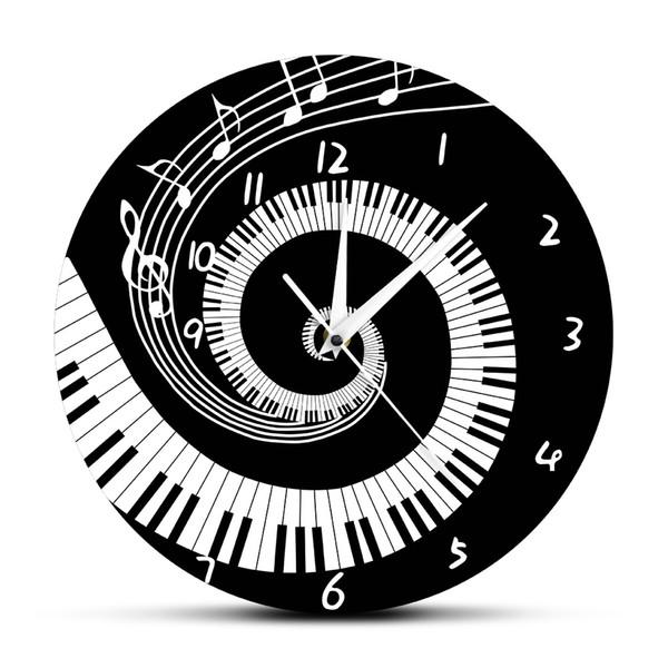 Piyano Tuşları Siyah ve Beyaz Duvar Saati Modern Müzik Notlar Dalga Yuvarlak Müzik Klavye Duvar Saati Lover Piyanist Hediye
