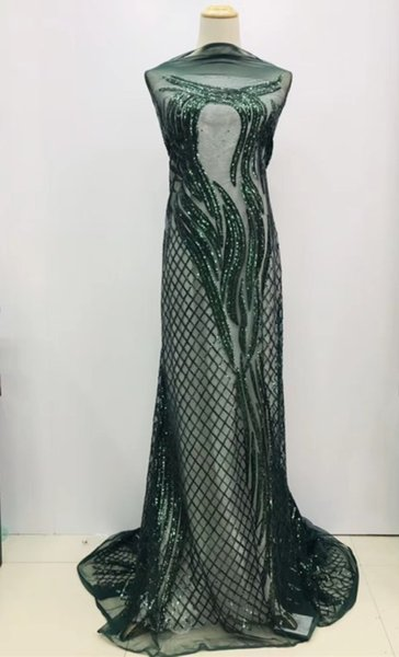 green Design Sequined India Mesh Net Lace Fabric 2017 High Quality Shining Sequins African Women Evening Party Dress Fabrics