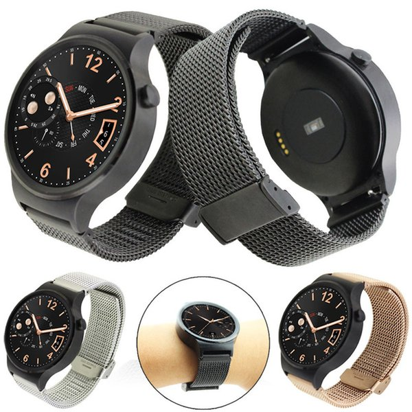 Black Sliver Stainless Steel Mesh Replacement Watch Band Strap For Huawei Watch 42mm Wristband