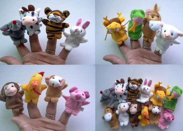 60pcs = 5lot Finger Puppet giocattoli peluche Zodiaco cinese bambola biologica per il regalo di compleanno del capretto Animal Cartoon Baby Favorite Finger Doll