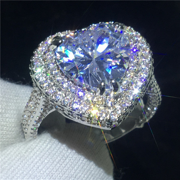 Luxury Heart shape Promise ring 925 Sterling silver 5ct 5A Cz Stone Engagement wedding band ring for women Finger jewelry