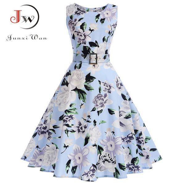 Vestidos Vintage Kleid Sommer Blumendruck Sleeveless Party Kleider 50er Jahre 60er Jahre Elegantes Rockabilly Sexy Pin Up Kleid mit Gürtel Y19012201