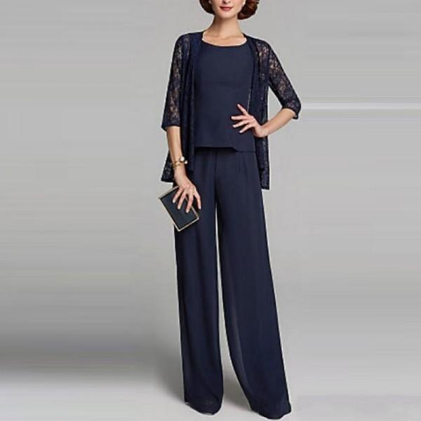 2019 Новый 3 шт мать невесты брючный костюм с кружевом Жакет темно-синий шифон элегантный вечерние вечерние платья 2019