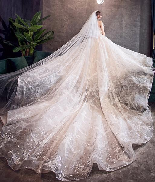 Bling Lentejuelas Vestidos de novia 2019 Vestido de bola Amor Champagne / Vestido de novia blanco Princesa Vestidos de boda robe de mariee