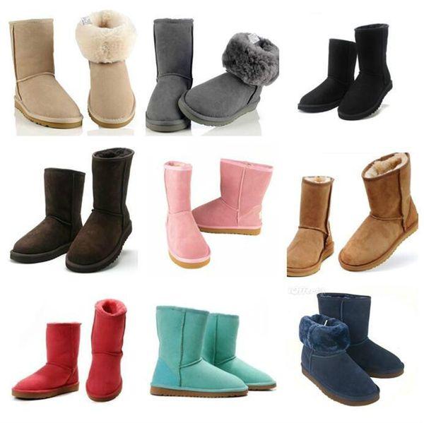 bottes de concepteur de l'usine Femmes Bottes de neige style classique vache Bottes en suède d'hiver en cuir chaud court imperméable Marque 12 couleurs