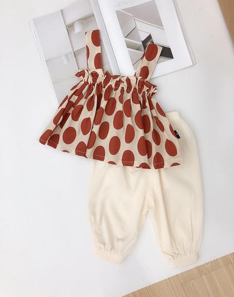 NEUE Mädchen Junge Kinder setzt Tupfen Sleeveless Hosenträgerentwurf Shirt + Pants Sommermädchens gesetztes kausales Mädchen scherzt Kleidung