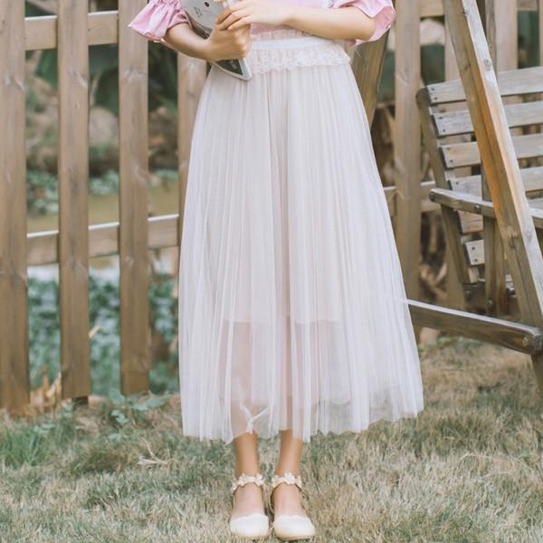 Falda larga de encaje japonés Faldas largas de cintura alta elásticas vintage para mujer Faldas 2018 Mori Girl Summer Fashion Sweet Clothing