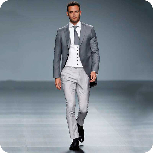 Vintage Grey Men Suits for Wedding Man Blazer Groom Tuxedo 3Piece Wide Peaked Lapel Classic Fit Male Outfit Latest Designs Costume Homme