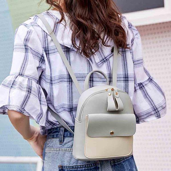 scuola di patchwork zaino per le donne nuova pelle arrivo Laptop Backpack casuale cerniera Borse grandi capacità bolsa feminina