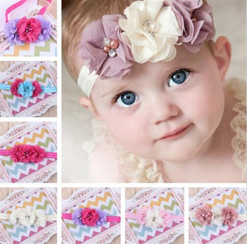 Flor recién nacida banda elástica del pelo niños diadema gasa 3 flor perla anillo de diamante accesorios para el cabello vendas de flores