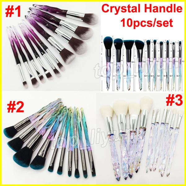 2019 Crystal Makeup Brushes 10pcs / set Diamond Crystal Handle Brush Powder Foundation Blush Contornos Resaltador Kit de cepillos para rostro y ojos