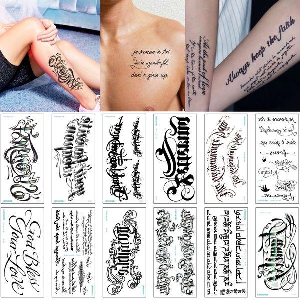 3D Tattoo alphabet anglais corps parole temporaire Art Tattoo autocollant de peau de couverture pour Homme Femme bras Poitrine Taille Amoureux Papier Transfert étanche