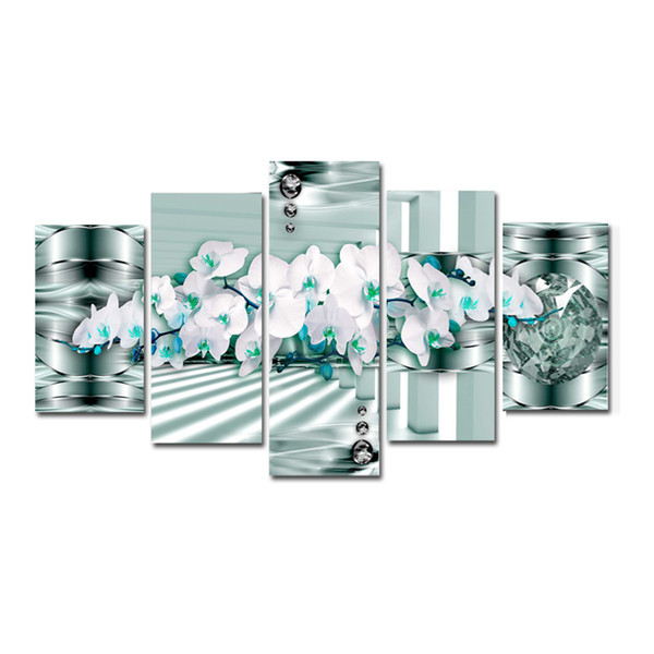 Living Room Home Decor Canvas Prints Poster 5 Pieces Orchid Flowers Paintings Modular Wall Art Abstract Pictures (No Frame)