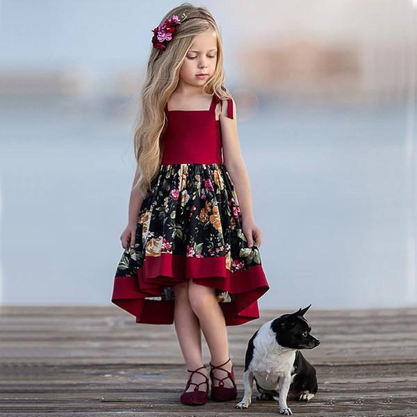 Le ragazze dell'abbigliamento dei bambini europei ed americani retro la stampa di estate il breve vestito da principessa del partito della fionda irregolare del breve bambino corto