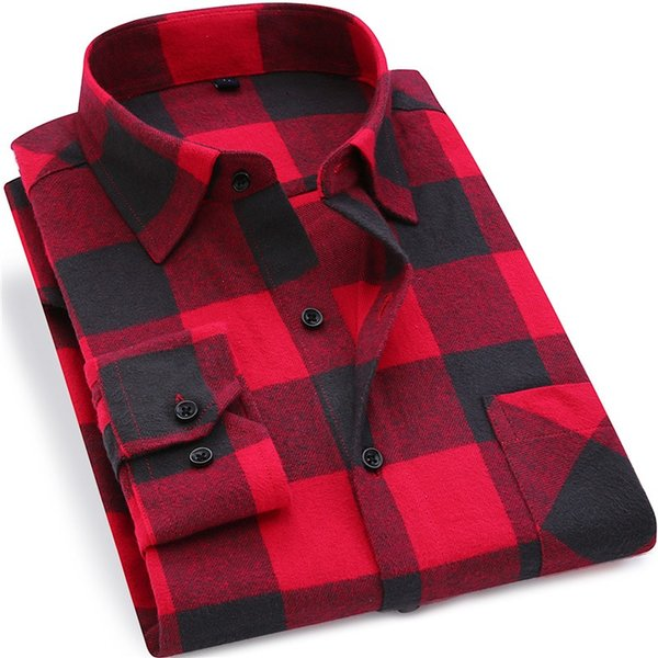 Men Flannel Plaid Shirt 100% Cotton 2019 Spring Autumn Casual Long Sleeve Shirt Soft Comfort Slim Fit Styles Brand Man Clothes