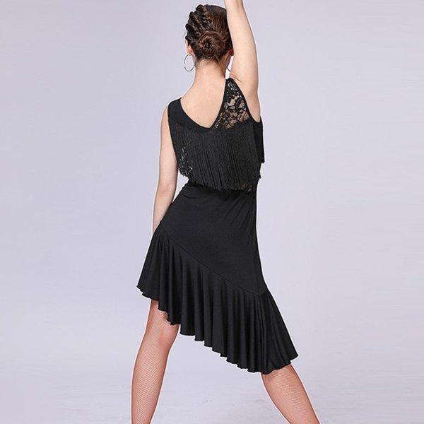 Encaje Empalme vestido de estilo latino borla vestido de baile latino mujeres trajes de baile de samba tango salsa ropa práctica