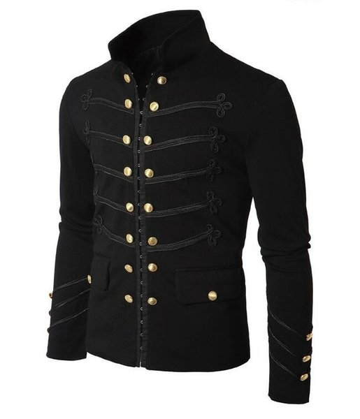 Free shipping new fashion solid color men's jacket dark hook buckle national wind jacket