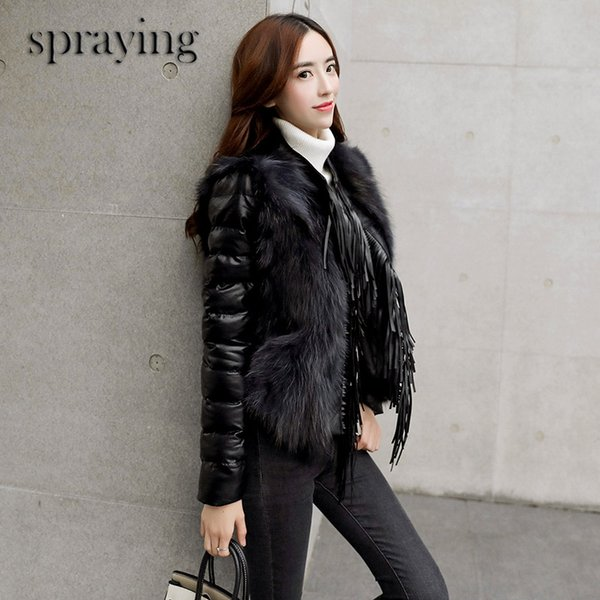 New Fashion Fox fur warm coat women short fur long sleeve PU patchwork Winter and early spring clothes