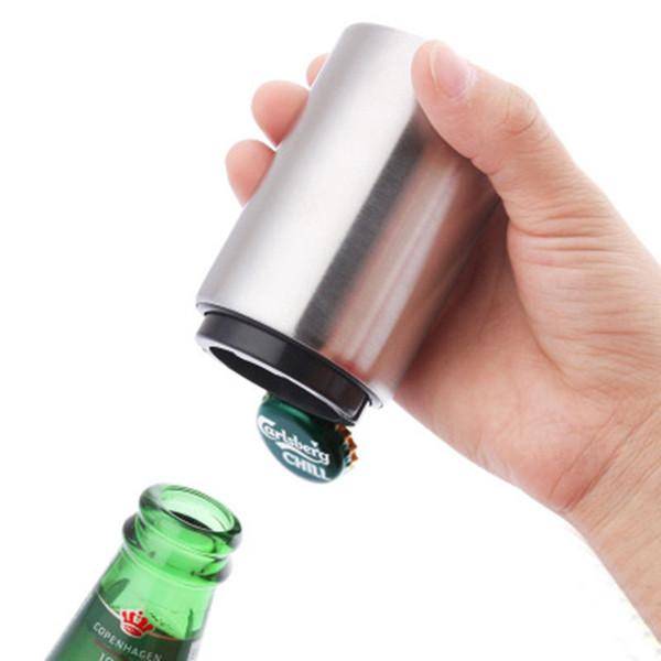 Edelstahl-automatische Bier-Öffner Presse Typ Magnetic Flaschenöffner Küchen Bar Werkzeuge Küchen-Geräte Zubehör Silber
