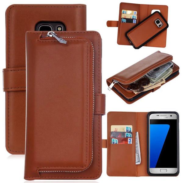 2 in 1 copertura del magnete di caso staccabile rimovibile Zipper il portafoglio in pelle per iPhone XS XS XR MAX Galaxy S10 S10E S10 PLUS S9 S9 PLUS NOTA 9 8 1PC
