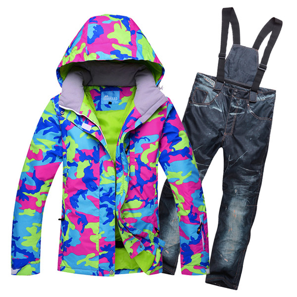 New outdoor woman skiing suit sets snowboarding clothes waterproof windproof winter Snow Costumes jackets + pants Ski suit Hot