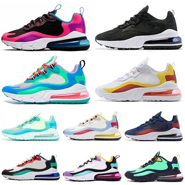 Nike Air Max 270 React Koşu Ayakkabıları BAUHAUS HYPER JADE Pembe Parlak Mor Moda Kadın Erkek Eğitmenler Spor Sneakers 36-45