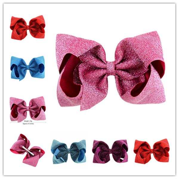 Niños niñas Glitter Bowknot grande horquilla 8 pulgadas paño brillante arco horquillas Broches para el cabello Broches para el cabello Pinzas para el cabello de los niños Nuevo A41004