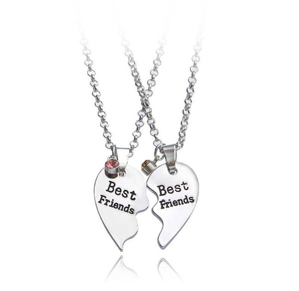 Hot Sale New BFF Best Friend Broken Heart Necklaces Silver Heart Joint Pendants Fashion jewelry Gift