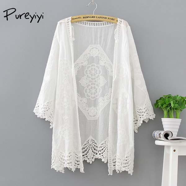 Beach Cover Up Collarless Long White Cover Ups Openwork Knitted Dress White Hollow Out Swimwear Beach for Women Summer