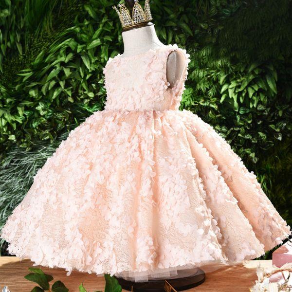 розовый Lace Little Girls Pageant платья 3D Цветочные аппликациями малышей бальное платье девушки цветка Длина пола Тюль Первое Причастие платья 2020