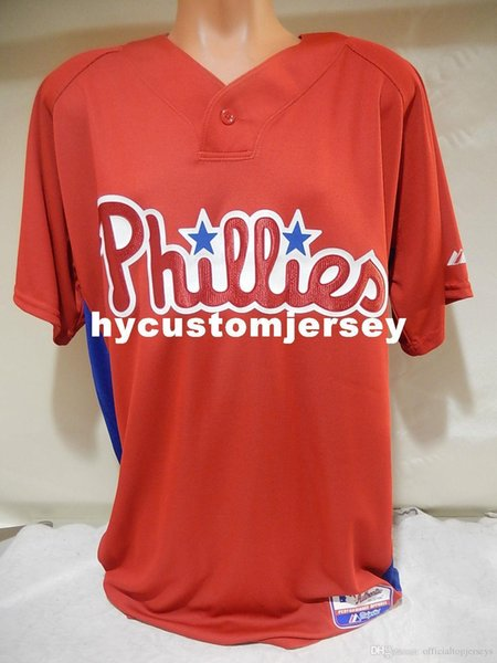 Cheap custom Majestic PHILADELPHIA Blank BP Baseball Jersey New Red Mens stitched jerseys Big And Tall SIZE XS-6XL For sale