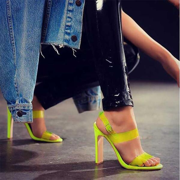 jackwang2011 / Moda Tacones Altos Peep Toe Sandalias de PVC transparente Zapatos de verano Bombas para mujer Zapatos de mujer Hebilla Correa Sandalias Mujer