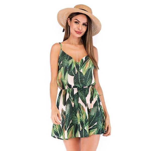 Nijiuding Summer Dresses For Women Sexy Sling Sleeveless V-neck Leaves Print Beach Dress
