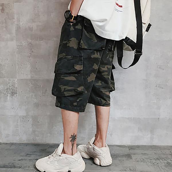 Acquista Pantaloni Larghi Camo Da Uomo Harem Streetwear Pantaloni Cargo Stile Bermuda Camuflada Pantaloni Corti Da Uomo Loose Summer 40XD032 A $54.35