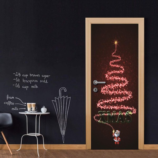 Modern Art 3D Door Sticker Peel and Stick Removable Vinyl Door Decal Cartoon Christmas Santa