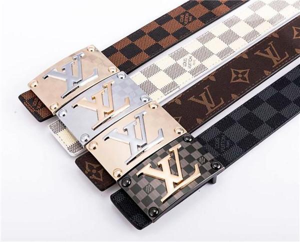 Kostenlose Lieferung Brand Designer New Style Alphabet Grafiken Deluxe Button Echtes Leder Gitter Grafik Gürtel mit hoher Qualität Brand Belt