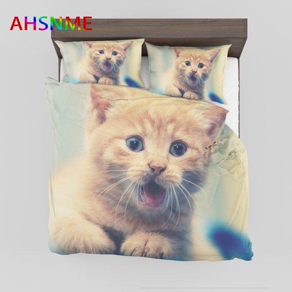 4.AHSNME Little Kitty Bedding Set Cat Duvet Cover Sets Customize Size AU Europe Size Queen King Single for Kids Gift Bedlinens