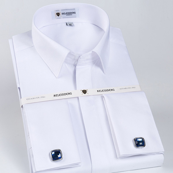 Men's Solid White Slim Fit French Cuff Twill Dress Shirt With Covered Placket Long Sleeve Formal Top Shirts (cufflinks Included) Y190506