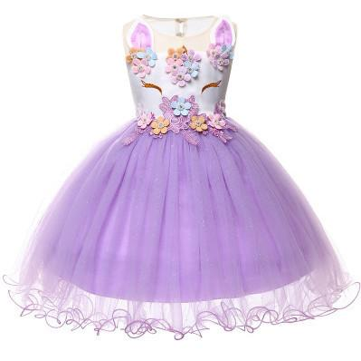 3dbe55d401fa Baby unicorn embroidery vest dress girls beaded colorful flowers party  dresses children stereo cartoon animal ear lace tulle dress F2656
