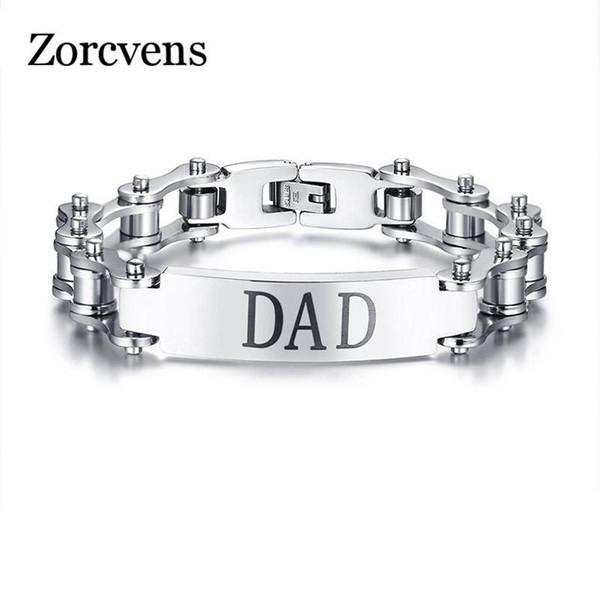 ZORCVENS Gool Man En Acier Inoxydable Bracelet pour DAD Argent Couleur Vélo Chaîne Bracelets Bracelets pour Hommes Homme Fête Des Pères Cadeaux
