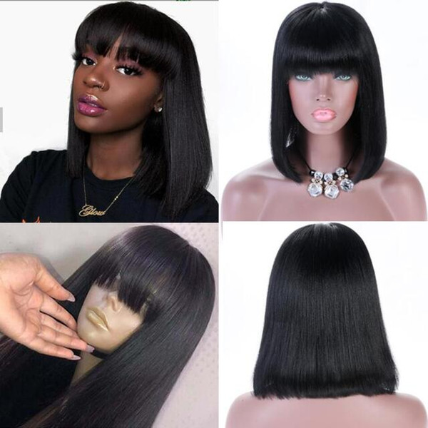 Short Bob Cut Lace Front Wig Silky Straigh 10A Natural Color Brazilian Remy Human Hair Full Lace Wig for Black Woman Free Shipping