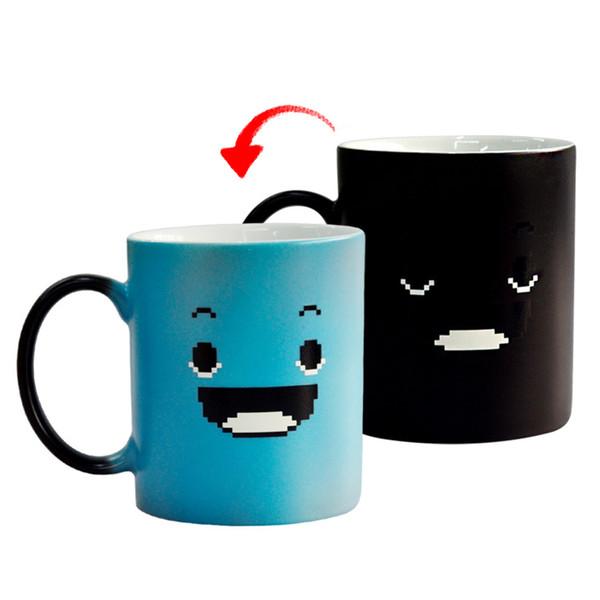 Taza de cerámica descolorida creativa, tazas de cara sonriente, taza de agua Drinkware por encargo Marca taza de café regalos Tazas 4974