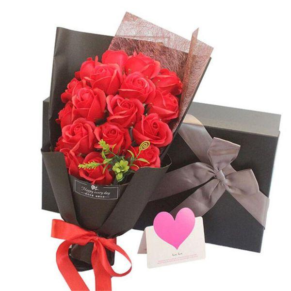 Acheter Créatif Savon Parfumé Fleur Rose Bouquet Savon Savon Romantique Valentines Anniversaire Cadeau De Mariage Fleurs Avec Boîte Cadeau De 21 36